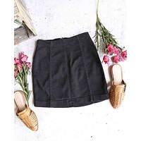 Free People - Modern Femme Novelty Mini Denim Skirt in Black
