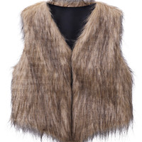 Color Block Collarless Cropped Faux Fur Waistcoat