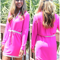 Yacht Club Hot Pink Long Sleeve Drawstring White Trim Dress