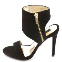 Single Strap Ankle Cuff Heels by Charlotte Russe - Black