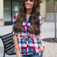 Candy Corner Plaid Button Up Top Hot Pink/Jade