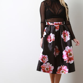 Peony Floral Box Pleated Skirt