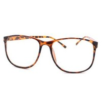grinderPUNCH Tortoise Large Nerdy Thin Plastic Frame Clear Lens Eye Glasses