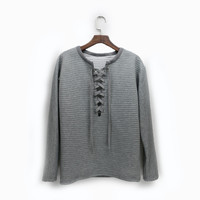 Fashion Lace Up Pure Color V-neck Long Sleeve Sweatshirt