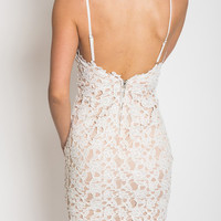 White Backless Lace Crochet Lined Cami Bodycon Dress