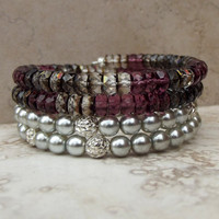 Purple Wrap Bracelet:  Silver Beaded Cuff, Amethyst and Smoky Topaz Stacked Bracelet, Christmas Jewelry, Holiday Party