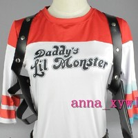 Suicide Squad Harley Quinn Daddy's Lil Monster Shirt Halloween Cosplay Costume