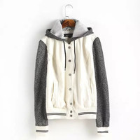 Block Faux Leather Hoodie Button Baseball Jacket