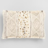 Oversized Charcoal Moroccan Block Print Lumbar Pillow