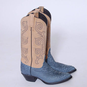 Vintage TWO Toned Western Boots Leather TONY LAMA Cowboy Boots Blue Western Boots Size 6M