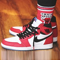 Air Jordan 1 OG AJ1 Fashion Women Men Casual Sport Basketball Shoes Sneakers White&Red