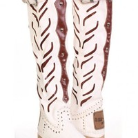 White Soft Faux Crinkle Leather Studded Western Calf High Boots