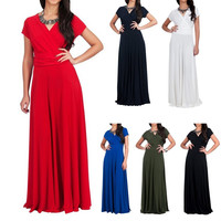 Womens Short Sleeve long Dress Summer Plus Size Evening Party Dresse