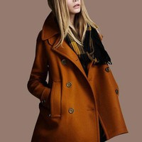 Brown Twill Wool Coat Double Breasted Button  Coat Jacket  Autumn Winter Coat  Cloak Dy17 S Xl