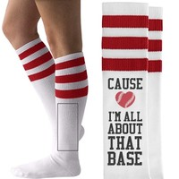 All About That Baseball Girlfriend American Apparel Striped Socks from Customized Girl