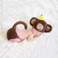 Adorable Monkey Crochet Set for Baby Costume Photograpy Prop