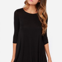 LULUS Exclusive Right Now Black Swing Dress