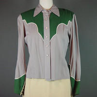 Vintage 50s Western Snap Shirt Blouse Gabardine Green Gray Cowgirl Ladies Womens S M