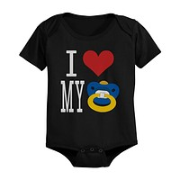 I Love Pacifier Black - Funny Graphic Statement Bodysuit / Infant T-shirt