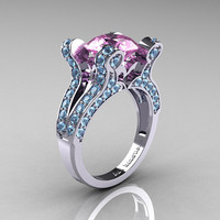French Vintage 14K White Gold 3.0 Light Pink Sapphire Aquamarine Pisces Wedding Ring Engagement Ring R228-14KWGAQLPS