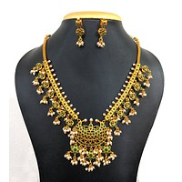 Guttapusalu style Traditional Pendant necklace and small earring set - Matte gold finish