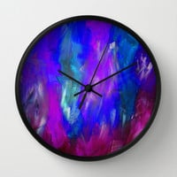 Midnight Flower Garden In Shades of Deep Blue, Violet, Purple and Pink Wall Clock by Jenartanddesign