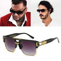 Oversized Square Aviator Gold Metal Bar Black Men Grand Designer Sunglasses NEW