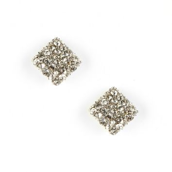 Sole Society Mini Square Crystal Earrings