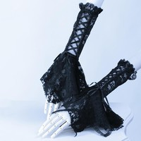 Gothic Punk Style Ladies Long Lace Gloves Steampunk Autumn Winter Women Lovely Arm Lace-up Gloves Warmers Black White