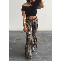 Black Tribal Floral Elephant Pattern High Waisted Bell Bottom Retro Long Flare Pants