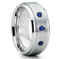 Cobalt Wedding Band - Sapphire Wedding Ring - Cobalt Chrome Ring