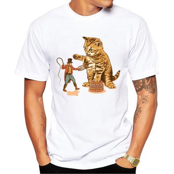 Big Cat Carnival Men's Short Sleeve Casual White T-Shirt