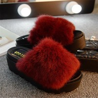 Women  Fur Fashion Platform  Flat Slippers Women