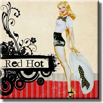 Red Hot Vintage Retro Pin Up Girl Picture on Stretched Canvas, Wall Art Décor, Ready to Hang