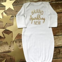 Baby gown, Monogrammed Baby Gown, Baby Shower Gifts, Infant Layette, Brand Sparkling New, Glitter Baby Layette