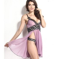 Cute Hot Deal On Sale Split Silver Lace Spaghetti Strap Plus Size Sexy Exotic Lingerie [6595713283]
