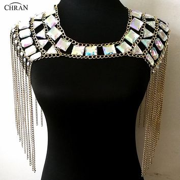Bejeweled Iridescent Shoulder Top Body Chain Jewelry