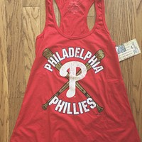 Womens MLB Philadelphia Phillies Vintage Inspired Tank Top