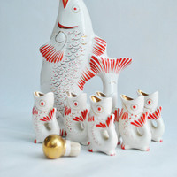 Soviet Porcelain - Vintage Ceramic Fish Drinking Set glasses - White and Red - 1970s - from Russia / Soviet Union / USSR