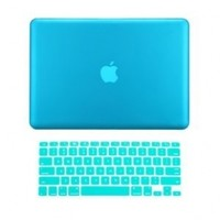 """TopCase ® 2 in 1 Ultra Slim Light Weight Rubberized Hard Case Cover and Keyboard Cover for Macbook Pro 13-inch 13"""" (A1278/with or without Thunderbolt) with TopCase ® Mouse Pad (Macbook Pro 13"""" A1278, Aqua Blue)"""