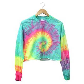 Fluorescent Tie-Dye Long Sleeve Unisex Cropped Tee