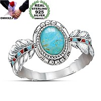 Cute Feather  Oval Turquoise 925 Sterling Silver Ring