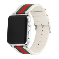 Apple Watch Band, Huanlong Nylon with Genuine Leather Sport Replacement Strap Wrist Band with Metal Adapter Clasp for 38mm Apple Watch / Sport /Edition (38mm-Red/Green/White)