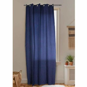 Solid Linen Curtain panel, Navy Blue - SageBrook Home