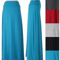 Solid Jersey Long Ruched Shirred Side Waistband Long Maxi Flare A-Line Skirt