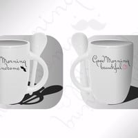 Good Morning Handsome & Beautiful Mugs Mug Matching Mugs Mug Custom Coffee Mugs Mug Couple Mugs Relationship Mugs Love Mugs Mug Coffee Mugs