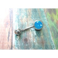 Turquoise Blue Fire Opal Belly Button Ring Piercing