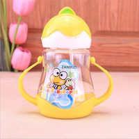 310ml Child Water Bottle Cute Cartoon Sippy Cup  Baby Leak Cup Baby Bottle With Straw Kids students Water Cups