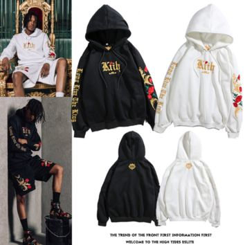 Men's and Women's Embroidered Platinum Rose Cap Jacket Couple's Hoodie and Sweater [4106681221156]
