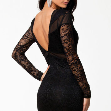 Black Backless Floral Lace&Mesh Patchwork Bodycon Dress